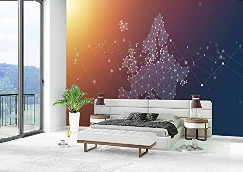 Canvas Wallpaper Self-Adhesive Removable Wall Painting Poster Sticker Craft Wall Sticker Europe Map Geometric Network Polygon Graphic Background Home Decoration Bedroom Living Room