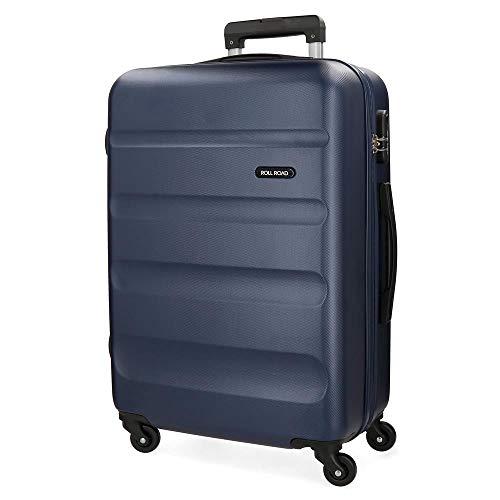 Roll Road Flex Blue Big Suitcase 51x74x28 cm Rigid ABS Combination Lock 91 Litre 3.8 kg 4 Wheels