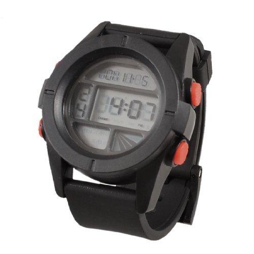 Caso Ronda Hombres Individual plástico Pin Negro Alarma Muñequera ajustable Reloj Deportes Cronómetro