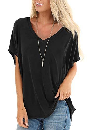 Short Sleeve Shirts Women Summer Tops Boho V Neck T Shirts Batwing Sleeve Black M