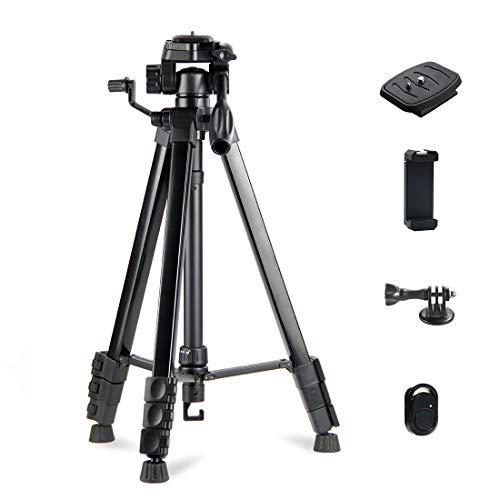 Phinistec 153cm Aluminium Handy Stativ für Kamera, iPhone, Smartphone, Gopro, Projektor mit Handy Halterung und Bluetooth Fernauslöser und Gopro Adapter mit Tragetasche (Schwarz)
