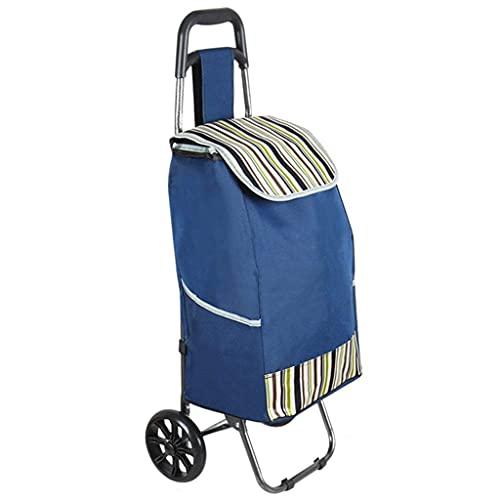 BSJZ Självgående shoppingvagnar bärbara hem äldre bagagevagn bil shoppingvagn slitstark PU-hjul tjockt tyg köp hopfällbara dragvagnar