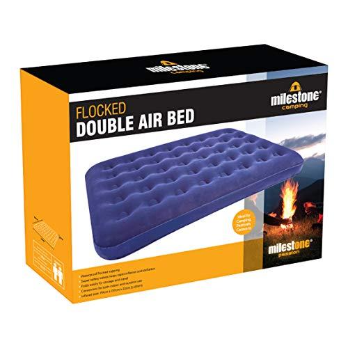 Colchón de Aire Doble Flocado Milestone Camping - Azul