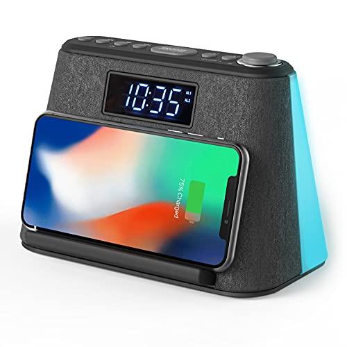 Radio Despertador Digital Bluetooth, con Carga Inalámbrica y Cargador USB, Radio FM, Lámpara de luz Nocturna con LED RVA cambiante, Pantalla LCD Regulable y Máquina de Ruido Blanco.