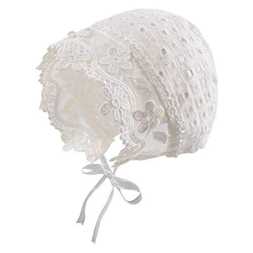 Pesaat Babymütze aus Spitze 0-6Monate Taufmütze Mädchen Säugling Mütze Mädchen Weiß Sonnenhut Baumwolle (Kariert, 0-6Monate)