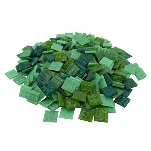 Mosaik-Profis Mosaiksteine versch. Farben (2x2 cm, 900g, ca. 340 St.) - buntes Mosaik ideal zum Basteln - Glasmosaik diverse Farben - keine Kunststoffverpackung (Grün Mix 1)