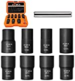 """XEWEA Bolt Nut Extractor Set, Easy Out Broken Lug Nut Extraction/Remover Socket Set for Damaged, Frozen,Studs,Rusted, Rounded-Off Bolts&Nuts Screws- 9Pcs 1/2"""" Drive"""