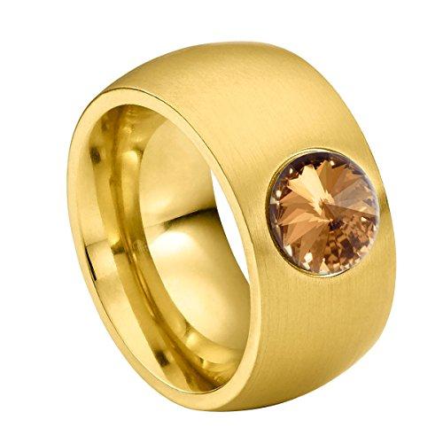 Heideman Ring Damen Coma 11 aus Edelstahl Gold farbend matt Damenring für Frauen mit Swarovski Stein Kristall Bernstein braun im Fantasie Edelsteinschliff 8mm