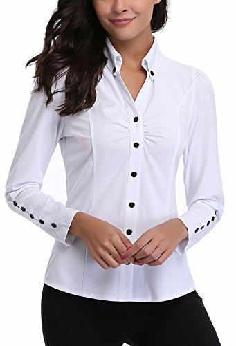 MISS MOLY Camicia Donna Bianca Elegante Blusa Manica Lunga Scollo V Camicetta Camicie Basic - XL