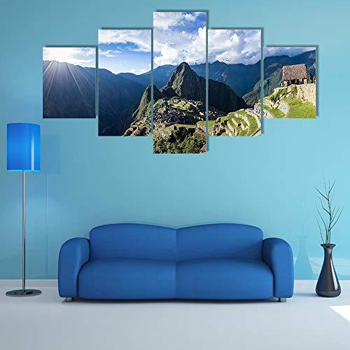5 piezas cuadro sobre lienzo imagen,cuadro decorativo grande,Cuadro sobre Impresión Lienzo 5 Piezas Ciudad Perdida de los Incas o Machu Pichu cuadro decorativo salon dormitorio Listo para Colgar Marco