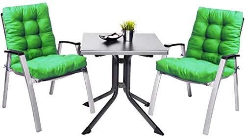Pack 2 Cojines con Respaldo de Silla Jardin Conjunto Cojin de Asiento para Interior y Exterior Cómodo. Cojines para sillas Comedor, mecedoras, bancosterraza (Verde Claro)
