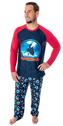 The Polar Express Train Men's Raglan Shirt And Pants 2 Piece Sleep Lounge Pajama Set (Large)