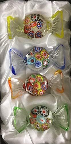 Yeti-Gold Set mit 4 Glasbonbons Blumendeko mit Silber