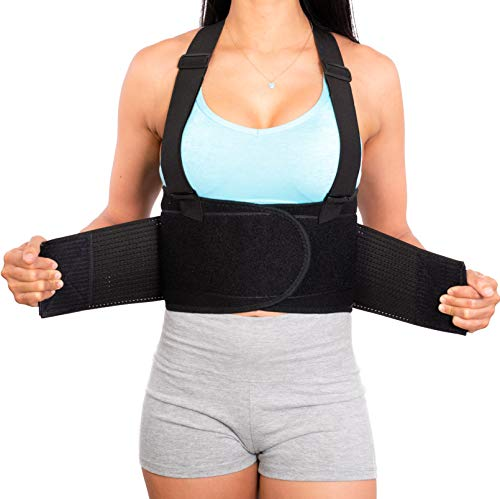 Lower Back Brace with Suspenders | Lumbar Support | Wrap for Posture Recovery, Workout, Herniated Disc Pain Relief | Waist Trimmer Work Ab Belt | Industrial | Adjustable | Women & Men | Black Mesh XXL