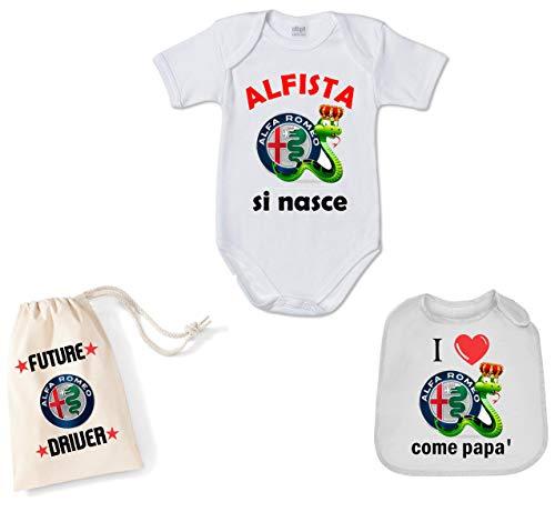 Stampa Juego completo de canastilla de nacimiento, 3 piezas, body babero y bolsa Alfa Romeo idea regalo nacimiento pequeños alfitos bianco 3 mes