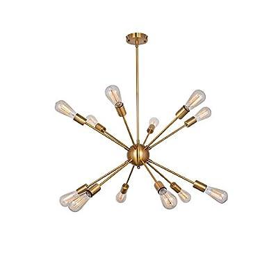 YHYSTL Modern Sputnik Chandelier Vintage Brushed Brass Ceiling Light Fixture Industrial Pendant Lighting for Dining Room Kitchen Living Room Bedroom Brass 12 Lights