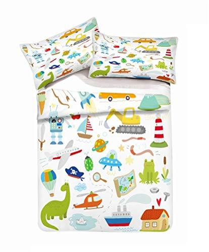 LanS Cartoon toy car airplane excavator child duvet cover bedding Set, duvet cover and pillowcase, 3 Piece Set bedding (duvet cover + 2 pillowcases) Single Double Bed (D,Double-200x200cm)