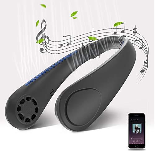 Tragbarer Ventilator mit Bluetooth Lautsprecher, Mini USB Ventilator Nackenbügel Ventilator mit Dualen Lautsprecher, USB Wiederaufladbarer Hohe Klangqualität Nacken Ventilator, 3 Speed Halsventilator