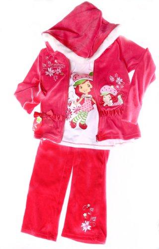 Strawberry Shortcake Girls 3pc Velvet Hooded Pants Set (5)