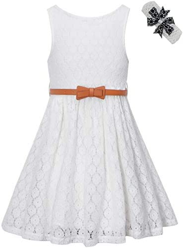 BINPAW Kids Casual Flower Girl Dress White 7T 8T 7 8 Years Tag 140 product image