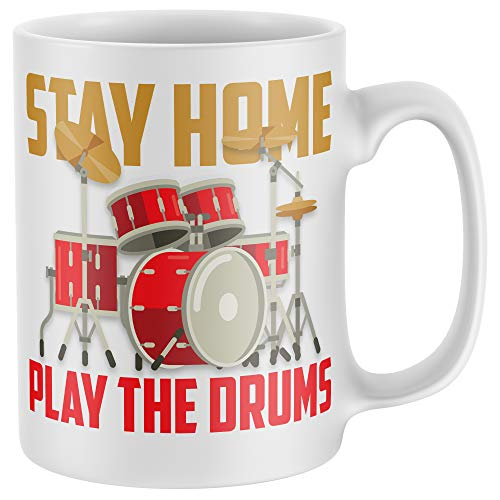 Purple Print House Stay Home Play The Drums Lockdown Tasse – lustiges Geburtstagsgeschenk für Sie oder Ihn – Schlagzeug-Kaffeetasse, weiß, Einheitsgröße