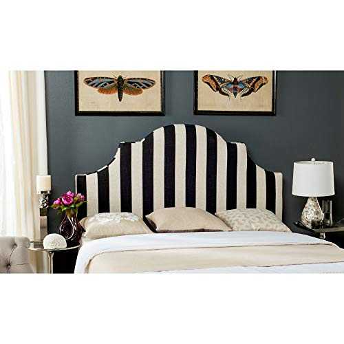 Safavieh Hallmar Black/ White Stripe Upholstered Arched Headboard (King)