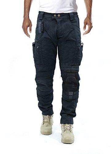 Survival Tactical Gear Herren Airsoft Wargame Taktische Hose mit Knieschutz System & Luftzirkulationssystem (Iron Black, XL)