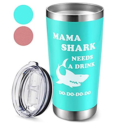 Tumbler Cup Gifts for Mom - Mama Shark Needs a Drink, 20oz Funny Christmas & Birthday Gifts for Moms, Double-Wall Insulated Travel Coffee Mug for New Mom (Royal Blue)