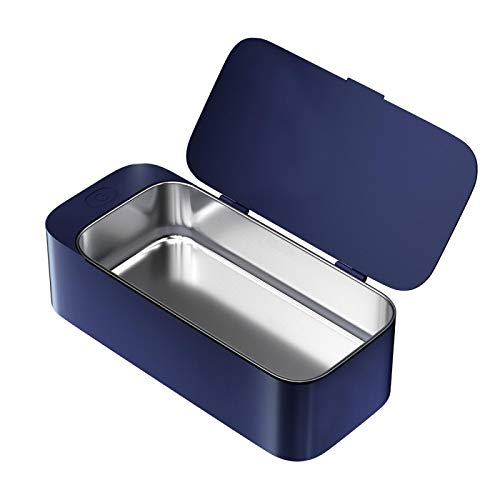 Limpiador ultrasónico portátil Gafas Joyas Lente de anteojos Reloj Anillo Moneda Cabeza de afeitar Collar Baño Máquina de limpieza por ultrasonido Azul