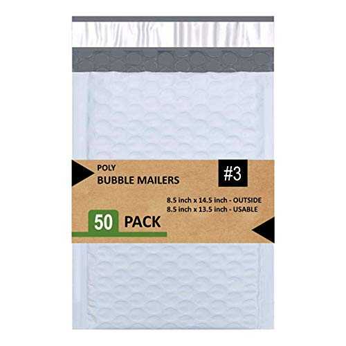SALES4LESS #3 Poly Bubble Mailers 8.5X14.5 Inches Shipping Padded Envelopes Self Seal Waterproof Cushioned Mailer 50 Pack, White (PBMVR_8.5X14.5-50)