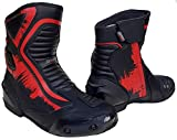 Speed MaxX - Herren Sportschuhe aus echtem Leder in Rot und Schwarz für Motorrad, Rennsport, Größe 40