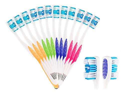 newgen medicals Marken-Handzahnbürste: 12er-Pack Marken-Zahnbürsten mit Zungenreiniger, HART, 4 Farben (Mundpflege-Bürsten)
