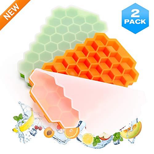 Eiswürfelform Silikon Eiswürfelbehälter mit Deckel - 2er Pack Silikon in Lebensmittelqualität Ice Tray, BPA Frei, Ice Cube Tray für Getränke, Fruchteis, Bier, Whisky, Cocktails, Family