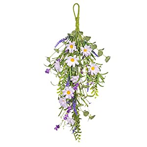 Silk Flower Arrangements WIVAYE 2Pcs Artificial Silk Teardrop Wreath,24in Simulation Lavender Flower Swag for Home Door Kitchen Wedding Garden Decor