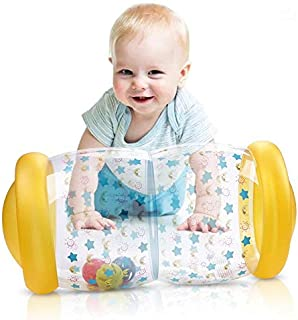 Hamkaw Inflatable Baby Roller with Rattle - Sound, Crawling, Pushing Toddlers Activity Gym, 2019 Stimulate Baby's Senses Baby Steps Roller Inner Jingle Bells, Educational Toys Suitable from 6 Months