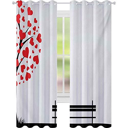 Cortinas de bloqueo de luz, árbol con hojas en forma de corazón y un banco Romance Love Valentines Secret Land Artsy, cortinas de 52 x 72 con ojales para tratamiento de ventanas, rojo y negro