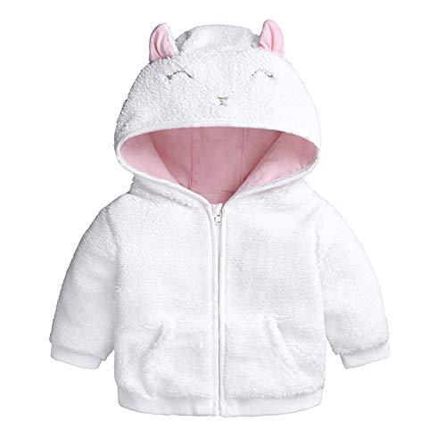 FYMNSI - Chaqueta de forro polar con capucha para recién nacido y niña (0-18 meses) Blanco 3-6 Meses