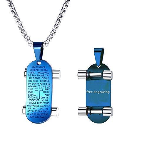 FaithHeart personalisierte Vaterunser Halskette mit Edelstahl Anhänger Hundemarke mit Gravur Ver Jesus Zitat katholischen Schmuck Blau, mit SOFORTGRAVUR…