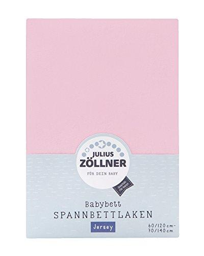 Julius Zöllner 8320147760 - Spannbetttuch Jersey für das Kinderbett, Größe: 60x120 / 70x140 cm, Farbe: rosa