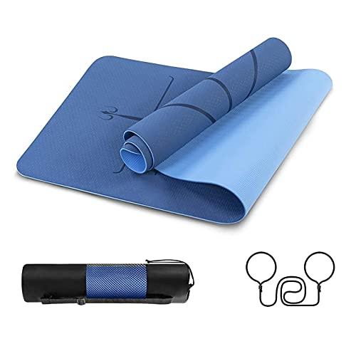 Delgeo Esterilla Yoga Colchoneta de Yoga Antideslizante con Material ecológico TPE con líneas corporales Yoga Mat diseñado para Entrenamiento y Entrenamiento físico (Azul Oscuro y Azul Claro)