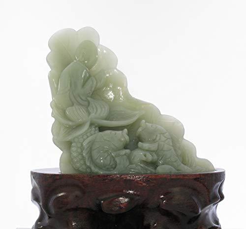 JL Statue sculptée à la Main en Jade avec Bouddha Assis en Chine Certifiée Naturelle et néphrite Hetian