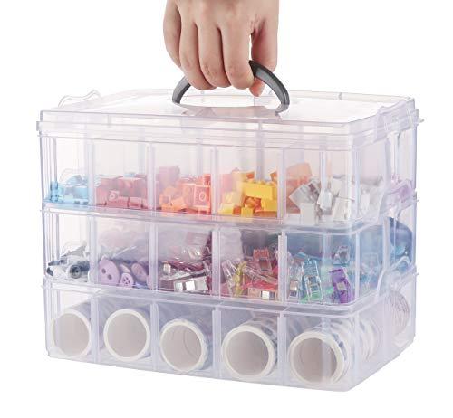 Anstore Sortierbox mit Tragegriff, Plastik Aufbewahrungsbox, Stapelbare Sortierboxen Schmuckkästchen für Die Organisation von Nähfäden, Spulen, Perlen, Schmuck, Kunst & Handwerkzubehör, 3 x 10 Fächer