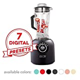 Dash DPB500MB Chef Series Blender with Stainless Steel Blades + Digital Display for Coffee Drinks, Frozen Cocktails, Smoothies, Soup, Fondue & More, 64 oz, Matte Black