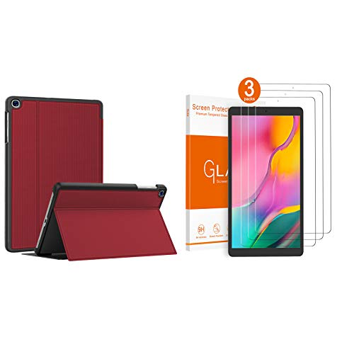 Soke Samsung Galaxy Tab A 10.1 Case 2019 Red Bundle with [3 Pack] Samsung Galaxy Tab A 10.1 Inch Screen Protector