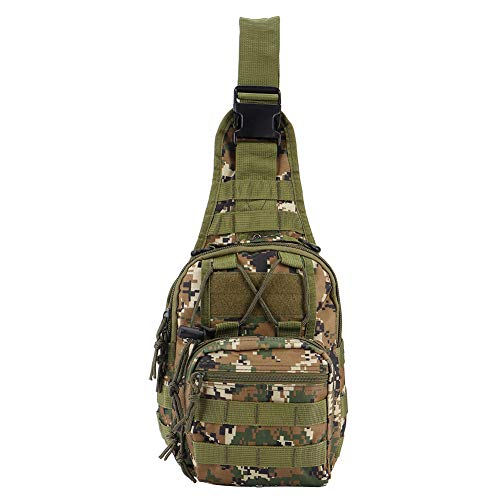 Wasserdichte Outdoor-Umhängetasche, 5L 600D Oxford Cloth Chest Bag, zum Laufen, Gehen, Camping, Radfahren(Jungle Digital)