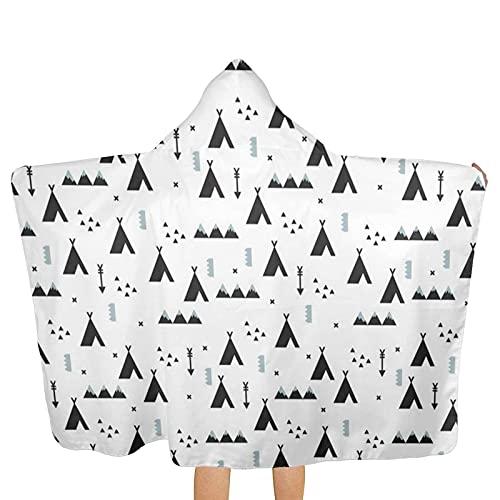 Bokueay Indian Teepee Winter Woodland Arrow Toalla de Playa geométrica con Capucha Toallas de baño de Playa Toallas de baño para Viajes Camping Toallas de Piscina en Carrito 51.5 x 31.8 Pulgadas