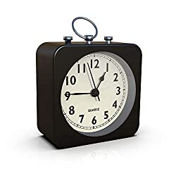 AYRELY Battery Operated Alarm Clock with Square Metal Case,Silent No Ticking Analog Quartz, Simple Operation for Bedroom/Travel/Desk/Kids (Black)