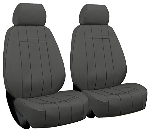 Front Seats: ShearComfort Custom Waterproof Cordura Seat Covers for Toyota Tacoma (2012-2015) in Gray for Sport Buckets w/Adjustable Headrests (TRD and X Runner)