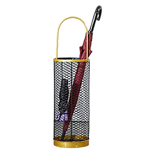 Metal Umbrella Stand, Drip Tray and Hooks, Quick-Dry Umbrella Holder Rack for Walking Sticks and Canes, 51cm Tall, with Handle, Large