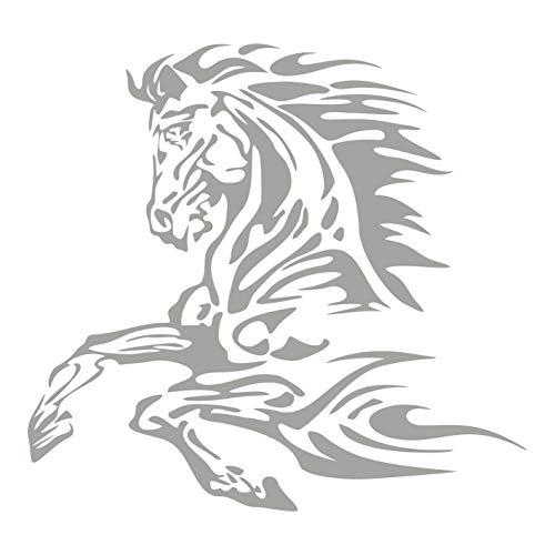 kleb-Drauf | 1 Pferd | Silber - glänzend | Autoaufkleber Autosticker Decal Aufkleber Sticker | Auto Car Motorrad Fahrrad Roller Bike | Deko Tuning Stickerbomb Styling Wrapping